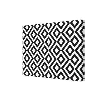 Meandro blanco y negro lienzo envuelto para galerías