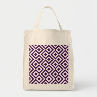Meandro de la púrpura y del blanco bolsa tela para la compra