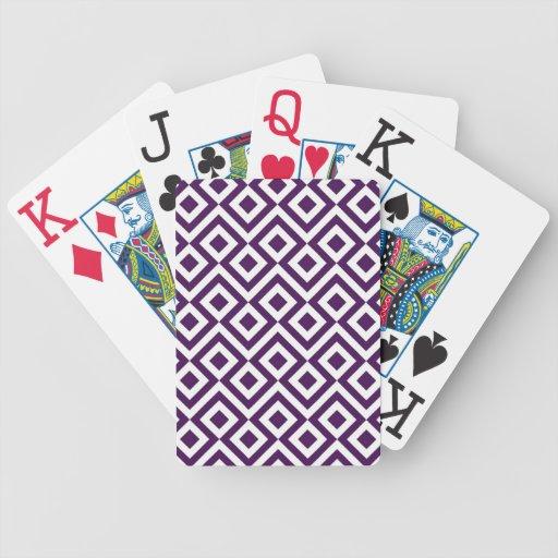 Meandro de la púrpura y del blanco baraja de cartas
