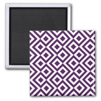 Meandro de la púrpura y del blanco imán cuadrado