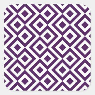 Meandro de la púrpura y del blanco pegatina cuadrada