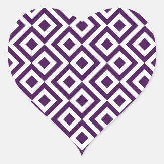 Meandro de la púrpura y del blanco pegatina en forma de corazón