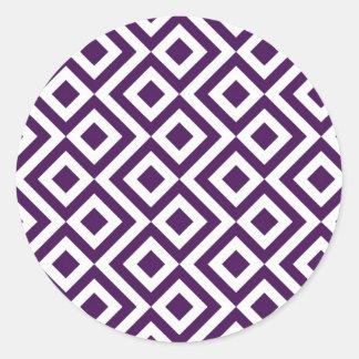 Meandro de la púrpura y del blanco pegatina redonda