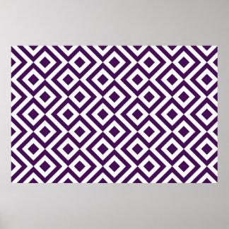 Meandro de la púrpura y del blanco póster