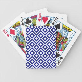 Meandro del azul y del blanco barajas de cartas