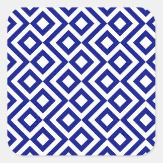 Meandro del azul y del blanco pegatina cuadrada