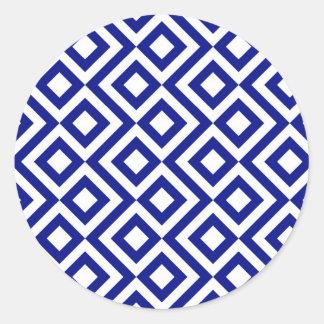 Meandro del azul y del blanco pegatina redonda