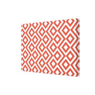 Meandro del naranja y del blanco impresiones en lona estiradas