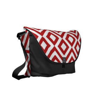 Meandro del rojo y del blanco bolsas de mensajeria