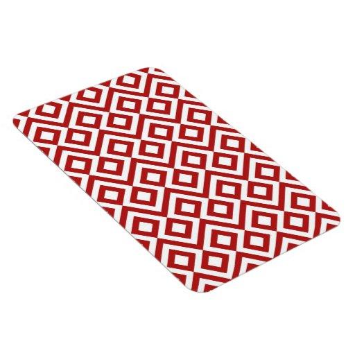 Meandro del rojo y del blanco imanes rectangulares