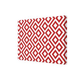 Meandro del rojo y del blanco impresión de lienzo