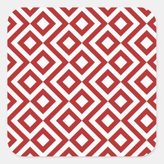 Meandro del rojo y del blanco pegatina cuadrada