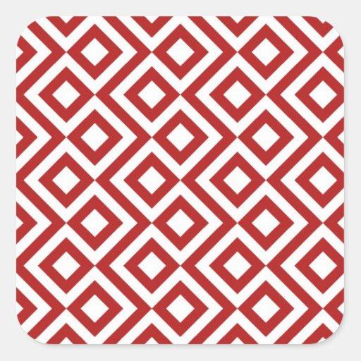 Meandro del rojo y del blanco pegatina cuadradas