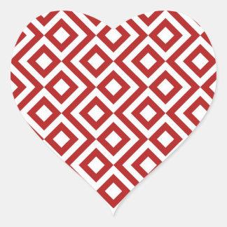 Meandro del rojo y del blanco pegatina en forma de corazón
