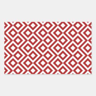 Meandro del rojo y del blanco pegatina rectangular
