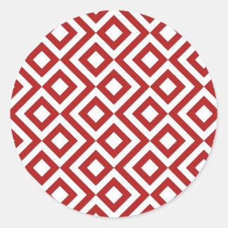 Meandro del rojo y del blanco pegatina redonda