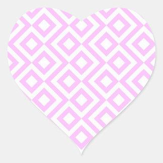 Meandro del rosa y del blanco pegatina en forma de corazón