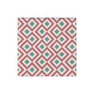 Meandro rojo, blanco, verde imán de piedra