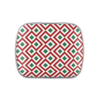 Meandro rojo blanco verde jarrones de caramelos