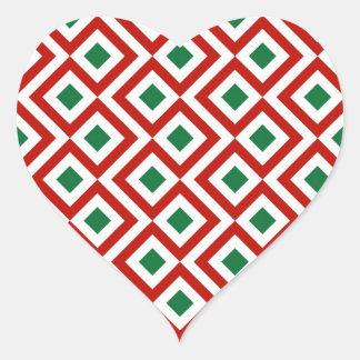 Meandro rojo blanco verde calcomanía de corazón personalizadas