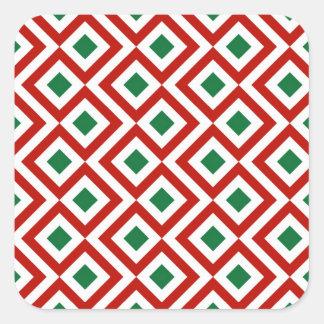 Meandro rojo, blanco, verde pegatina cuadrada