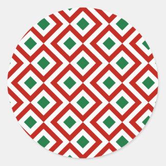 Meandro rojo, blanco, verde pegatina redonda