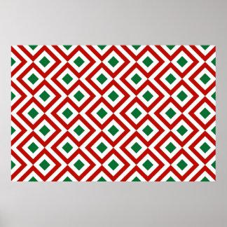 Meandro rojo, blanco, verde póster