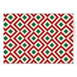 Meandro rojo, blanco, verde tarjeta de felicitación