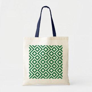 Meandro verde y blanco bolsa tela barata