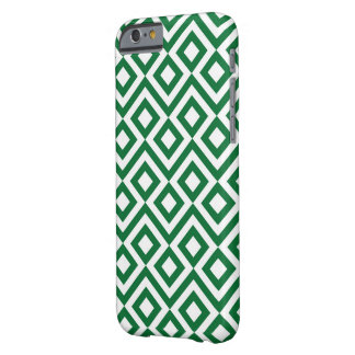 Meandro verde y blanco funda para iPhone 6 barely there