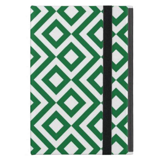 Meandro verde y blanco iPad mini carcasas