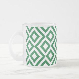 Meandro verde y blanco taza de cristal