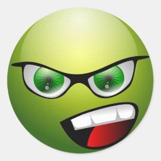 Meanie verde de Screamin Pegatina Redonda
