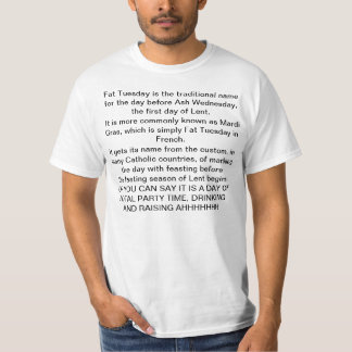 """MEANING OF """"FAT TUESDAY"""" T-SHIRT"""
