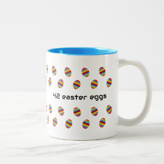 Meaning of life 42 easter eggs Two-Tone coffee mug