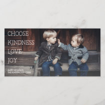 Meaningful Holidays Choose Kindness Love Joy Photo Holiday Card