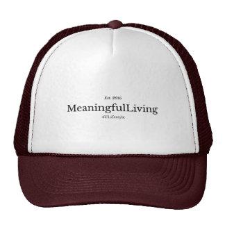 MeaningfulLiving Brand red sentence logo Trucker Hat