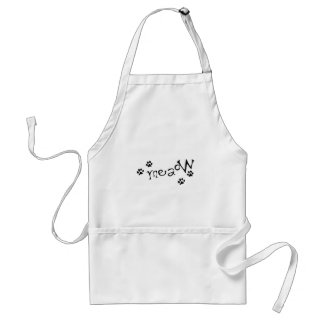 Meaow Animals Cats Pets Paws Letters Black White Adult Apron
