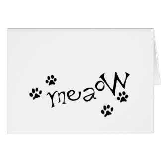 Meaow Animals Cats Pets Paws Letters Black White Greeting Card