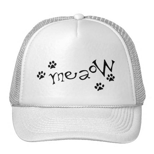 Meaow Animals Cats Pets Paws Letters Black White Hat