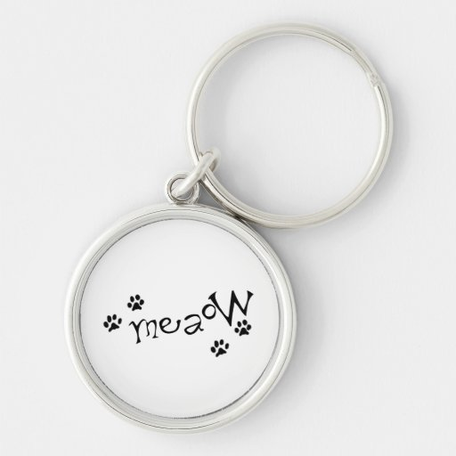 Meaow Animals Cats Pets Paws Letters Black White Key Chains