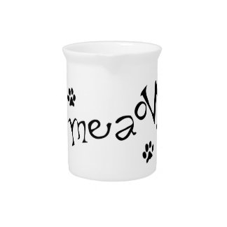 Meaow Animals Cats Pets Paws Letters Black White Beverage Pitchers