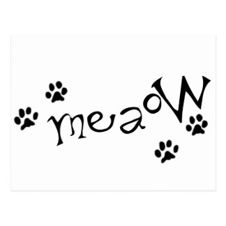Meaow Animals Cats Pets Paws Letters Black White Post Cards