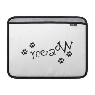Meaow Animals Cats Pets Paws Letters Black White Sleeve For MacBook Air