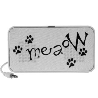 Meaow Animals Cats Pets Paws Letters Black White iPhone Speakers