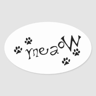 Meaow Animals Cats Pets Paws Letters Black White Sticker