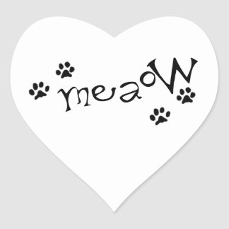 Meaow Animals Cats Pets Paws Letters Black White Heart Sticker
