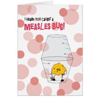 Measles Get Well Trapped Bug in Medicine Cups Card