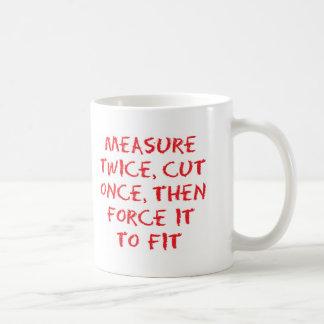Measure and force classic white coffee mug