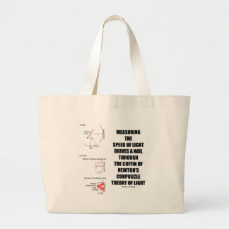 Measure Speed Of Light Newton Corpuscle (Physics) Large Tote Bag